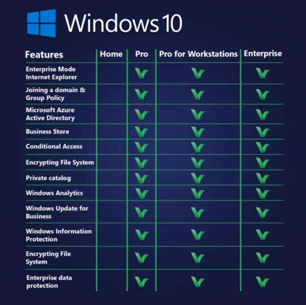 windows 10 pro vs home